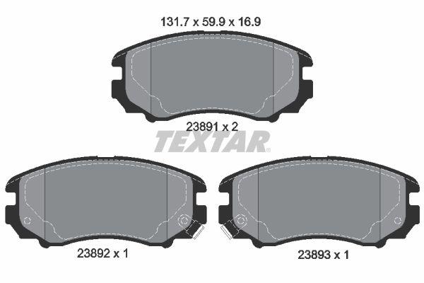 7825D924 TEXTAR mit akustischer Verschleißwarnung Höhe: 59,9mm, Breite: 131,7mm, Dicke/Stärke: 16,9mm Bremsbelagsatz, Scheibenbremse 2389101 günstig kaufen