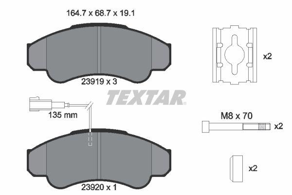 23920 TEXTAR mit integriertem Verschleißsensor, mit Bremssattelschrauben, mit Zubehör Höhe: 68,7mm, Breite: 164,7mm, Dicke/Stärke: 19,1mm Bremsbelagsatz, Scheibenbremse 2391901 günstig kaufen