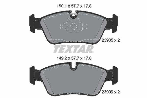 8347D1228 TEXTAR für Verschleißwarnanzeiger vorbereitet Höhe 1: 57,7mm, Höhe 2: 57,7mm, Breite 1: 150,1mm, Breite 2: 149,2mm, Dicke/Stärke: 17,8mm Bremsbelagsatz, Scheibenbremse 2393501 günstig kaufen