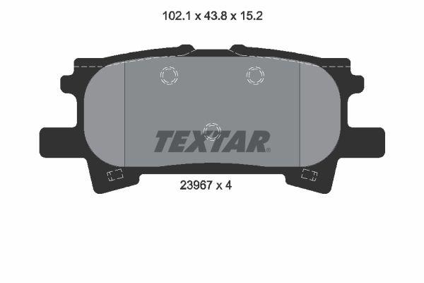 7897D996 TEXTAR exkl. Verschleißwarnkontakt Höhe: 43,8mm, Breite: 102,1mm, Dicke/Stärke: 15,2mm Bremsbelagsatz, Scheibenbremse 2396701 günstig kaufen