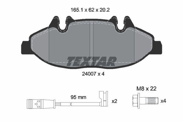 9224D1994 TEXTAR inkl. Verschleißwarnkontakt, mit Bremssattelschrauben Höhe: 62mm, Breite: 165,1mm, Dicke/Stärke: 20,2mm Bremsbelagsatz, Scheibenbremse 2400701 günstig kaufen