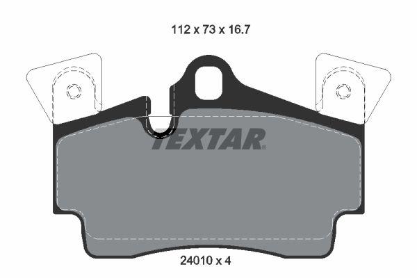 7908D978 TEXTAR für Verschleißwarnanzeiger vorbereitet, mit Ausgleichsgewichten Höhe: 73mm, Breite: 112mm, Dicke/Stärke: 16,7mm Bremsbelagsatz, Scheibenbremse 2401001 günstig kaufen