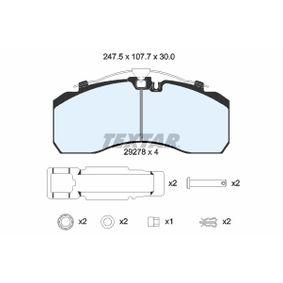 Bremsbelagsatz, Scheibenbremse TEXTAR 2927802 mit 17% Rabatt kaufen