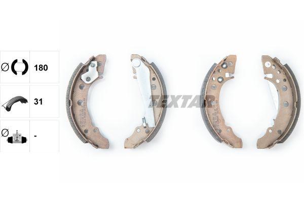 98101018204 TEXTAR Ø: 180mm, mit Handbremshebel Breite: 31mm Bremsbackensatz 91018200 günstig kaufen