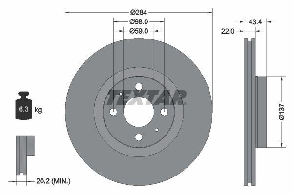 TEXTAR Bremsscheibe 92053500