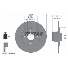 98200081201 TEXTAR Voll, mit Radnabe, ohne Radbefestigungsbolzen Ø: 238mm, Bremsscheibendicke: 8,0mm Bremsscheibe 92081200 günstig kaufen