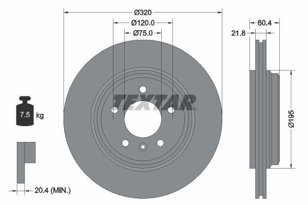 98200107001 TEXTAR außenbelüftet, ohne Radnabe, ohne Radbefestigungsbolzen Ø: 320mm, Bremsscheibendicke: 21,8mm Bremsscheibe 92107000 günstig kaufen