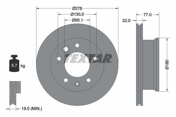 Achat de 98200131501 TEXTAR ventilé de l'intérieur, sans boulon de fix° de roue, sans moyeu de roue Ø: 276mm, Épaisseur du disque de frein: 22mm Disque de frein 92131500 pas chères