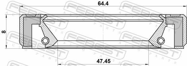 FEBEST   Wellendichtring, Schaltgetriebehauptwelle 95GBY-49640808R