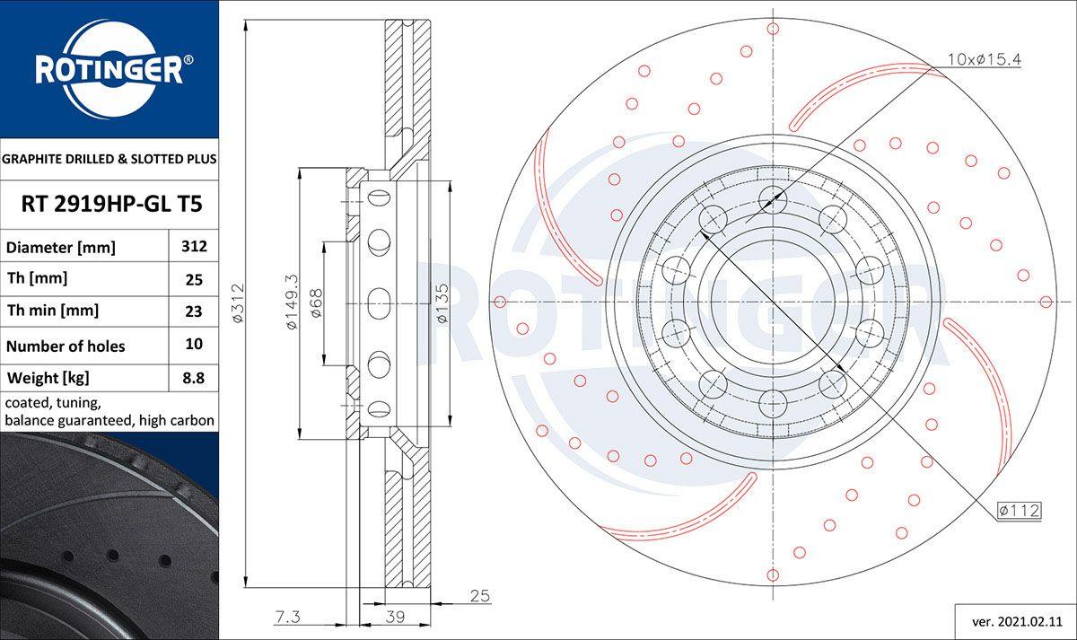VW Disques de frein d'Origine RT 2919HP-GL T5