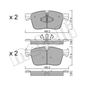 22303 METELLI für Verschleißwarnanzeiger vorbereitet Höhe 2: 77,4mm, Dicke/Stärke 1: 18,0mm, Dicke/Stärke 2: 18mm Bremsbelagsatz, Scheibenbremse 22-1124-0 günstig kaufen
