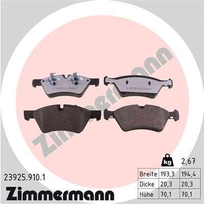 ZIMMERMANN Bremsbelagsatz, Scheibenbremse 23925.910.1