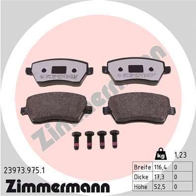 23973 ZIMMERMANN Höhe: 52mm, Breite: 116mm, Dicke/Stärke: 17mm Bremsbelagsatz, Scheibenbremse 23973.975.1 günstig kaufen