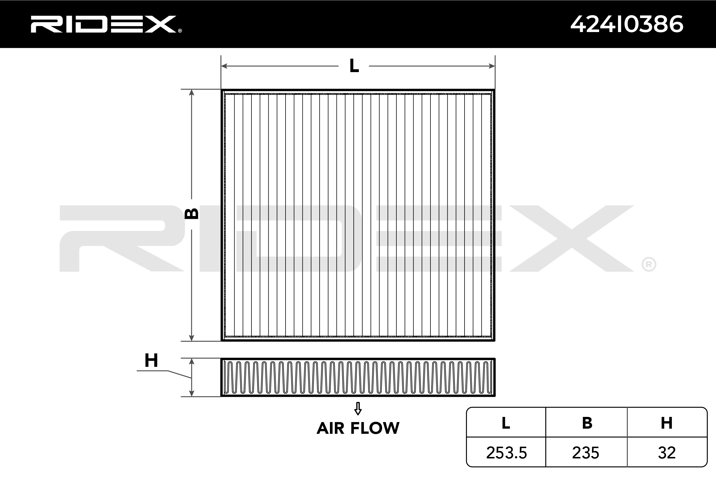 Innenraumluftfilter RIDEX 424I0386