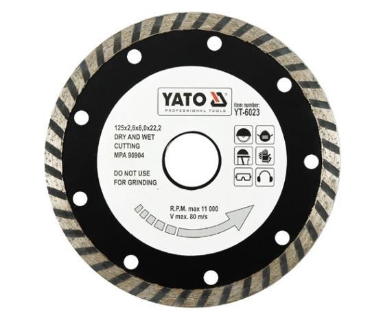 YT-6023 YATO Drehzahl bis: 110001/min, Nabenbohrung-Ø: 22.2mm Trennscheibe, Winkelschleifer YT-6023 günstig kaufen