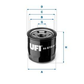 23.616.00 UFI Innendurchmesser 2: 56,0mm, Ø: 68,0mm, Außendurchmesser 2: 64,0mm, Höhe: 65,0mm Ölfilter 23.616.00 günstig kaufen