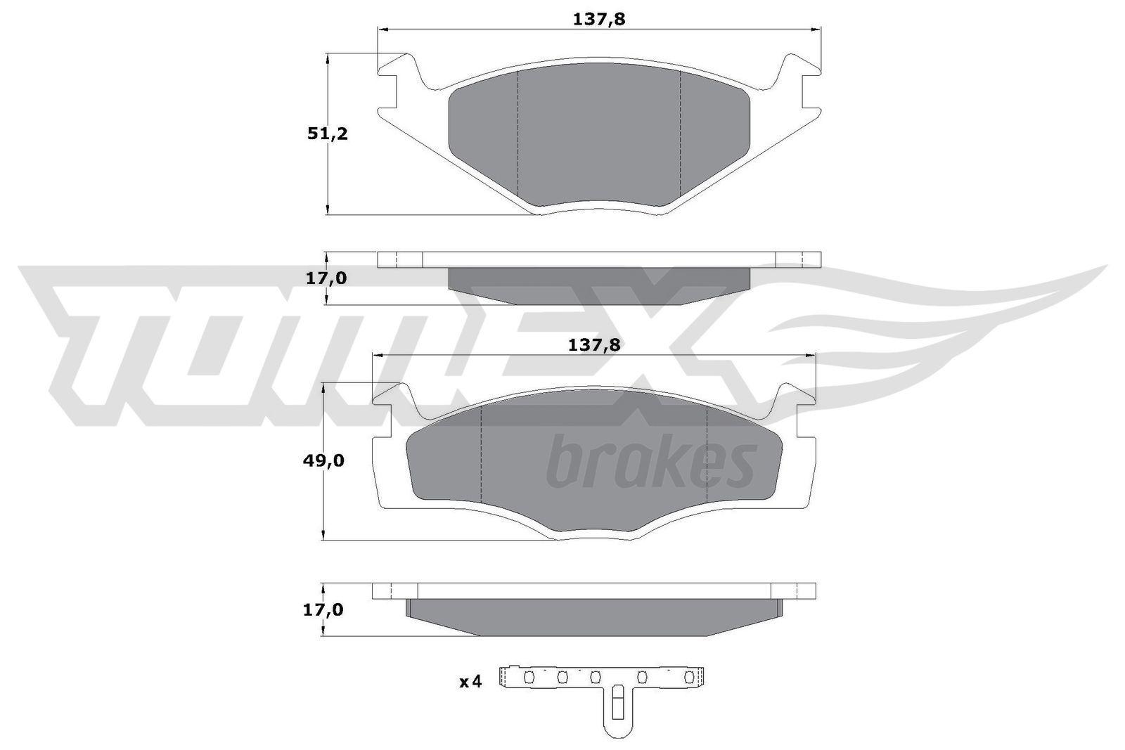 TOMEX brakes Bremsbelagsatz, Scheibenbremse TX 10-141