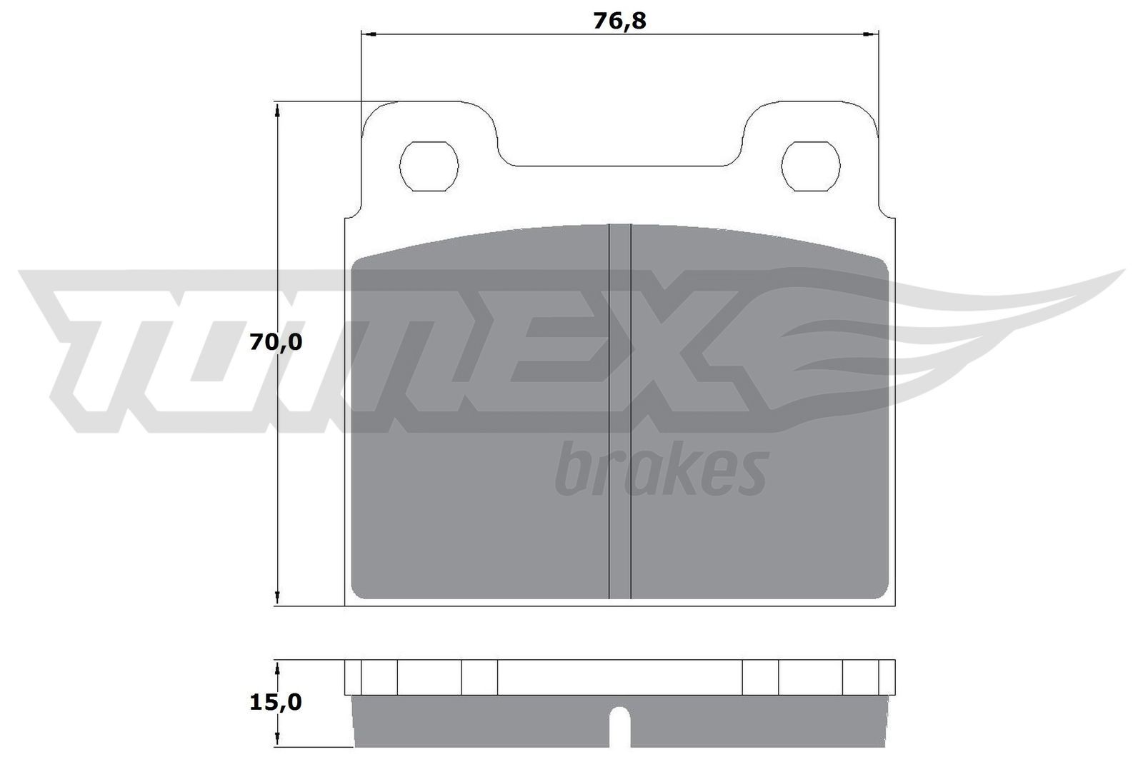 OPEL SENATOR 1986 Bremsbelagsatz - Original TOMEX brakes TX 10-18 Höhe: 70mm, Breite: 76,8mm, Dicke/Stärke: 15mm