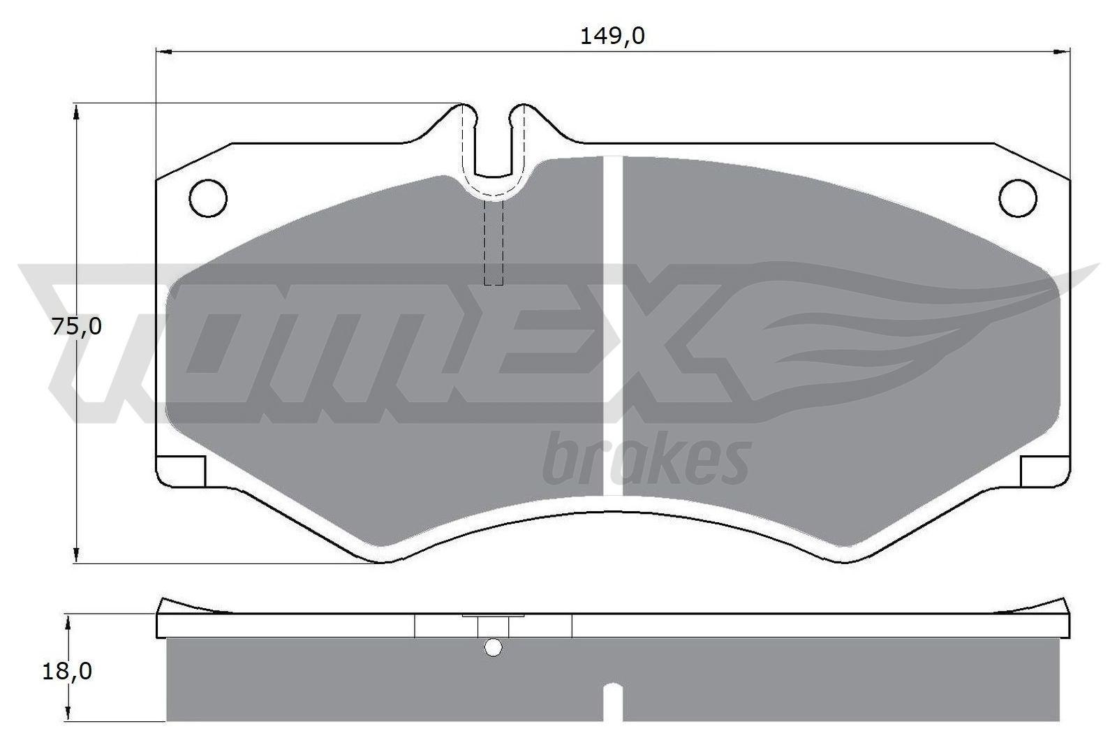 MERCEDES-BENZ T1 1991 Bremsbeläge - Original TOMEX brakes TX 10-20 Höhe: 75mm, Breite: 149mm, Dicke/Stärke: 18mm