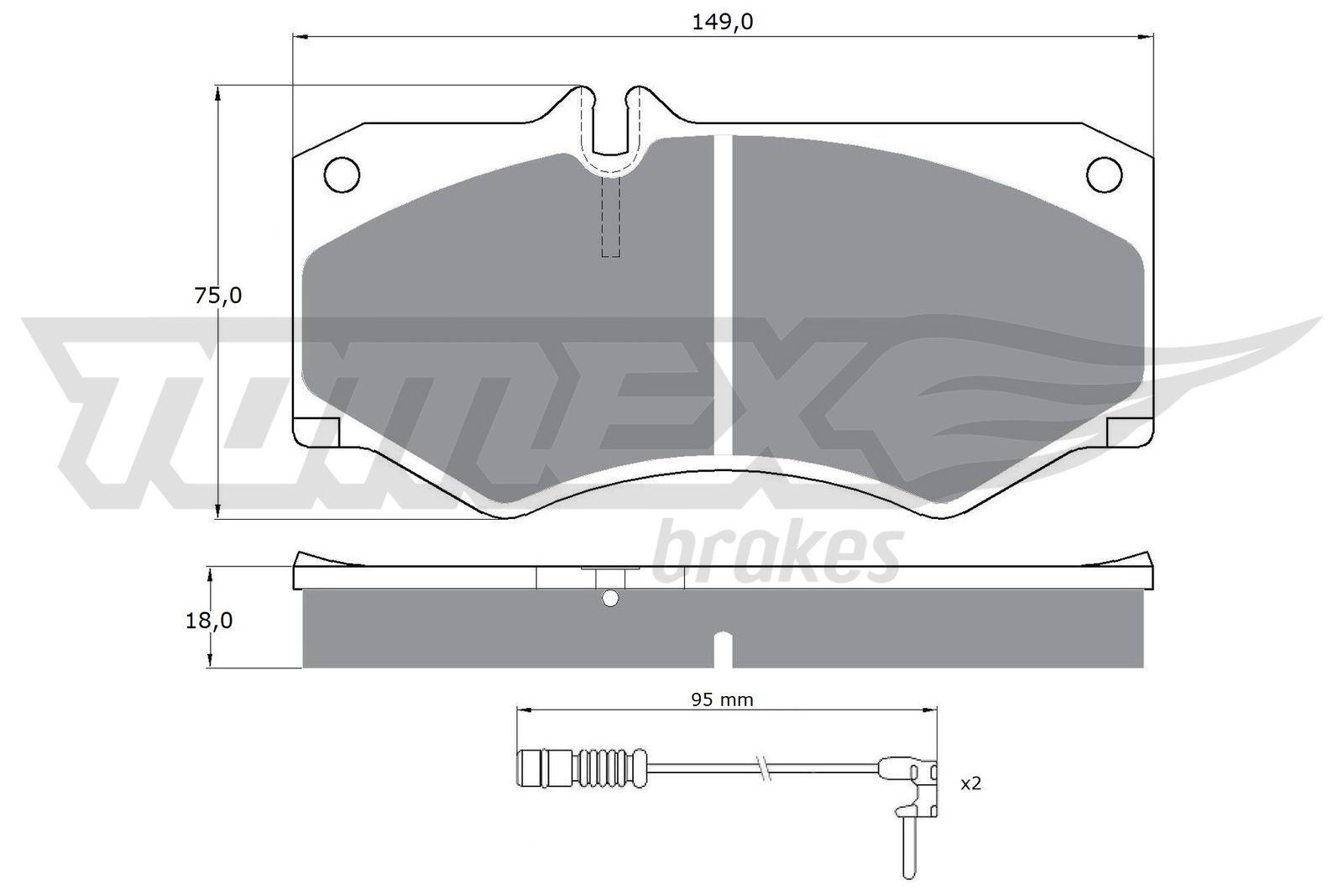 MERCEDES-BENZ T1 1993 Bremssteine - Original TOMEX brakes TX 10-201 Höhe: 75mm, Breite: 149mm, Dicke/Stärke: 18mm