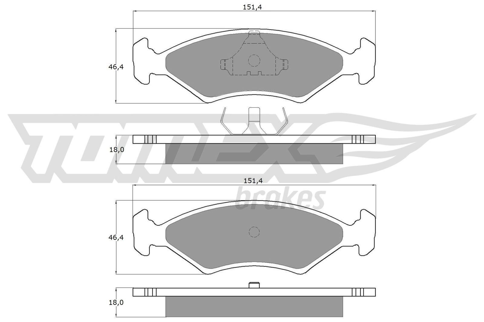 Bremsbeläge Ford Fiesta Mk2 hinten + vorne 1984 - TOMEX brakes TX 10-28 (Höhe: 46,4mm, Breite: 151,4mm, Dicke/Stärke: 18mm)