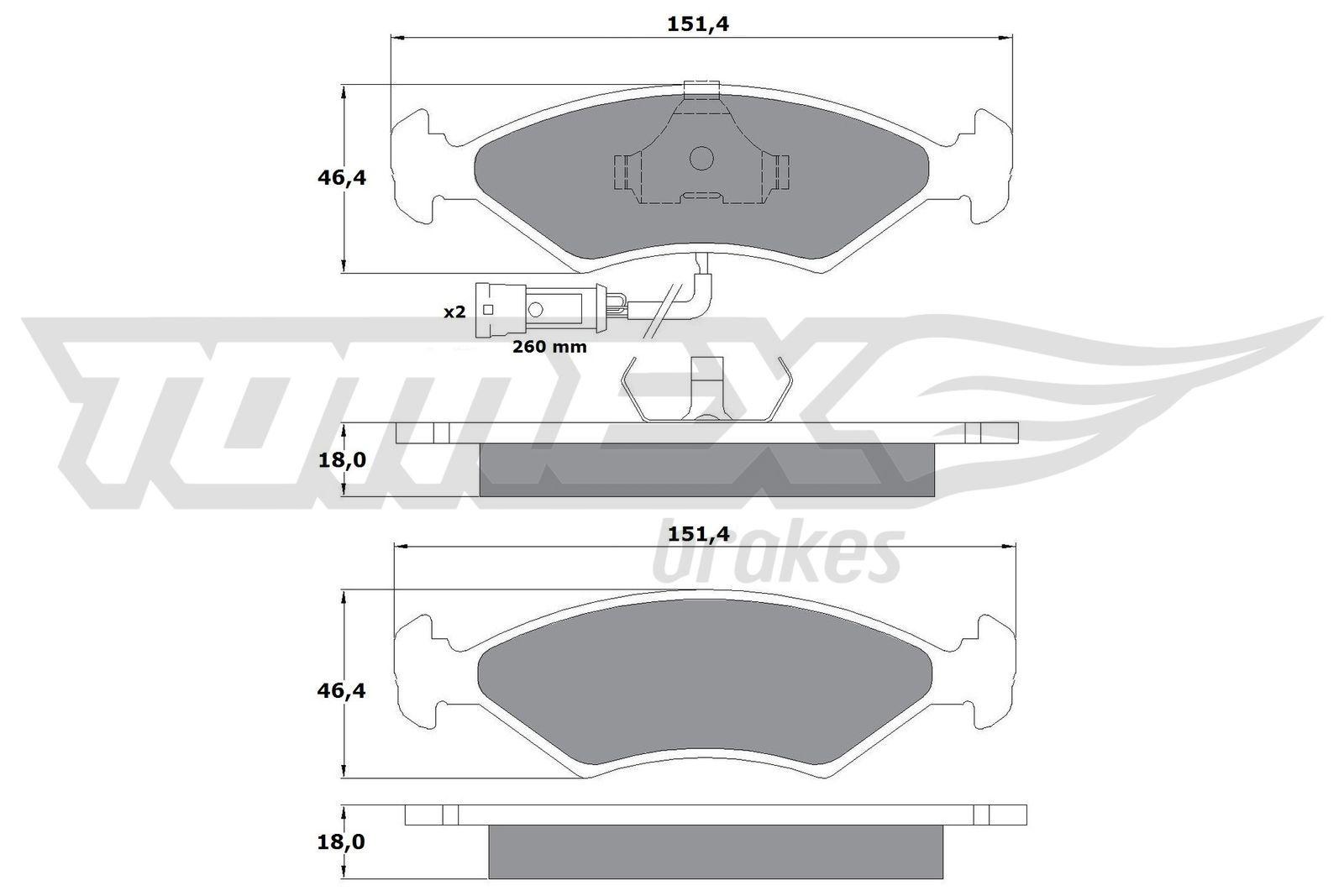 Bremssteine FORD Fiesta Mk3 Courier (F3L, F5L) hinten + vorne 1993 - TOMEX brakes TX 10-282 (Höhe: 46,4mm, Breite: 151,4mm, Dicke/Stärke: 18mm)