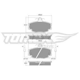 20938 TOMEX brakes Vorderachse, inkl. Verschleißwarnkontakt Höhe: 63,5mm, Breite: 100mm, Dicke/Stärke: 18mm Bremsbelagsatz, Scheibenbremse TX 10-48 günstig kaufen