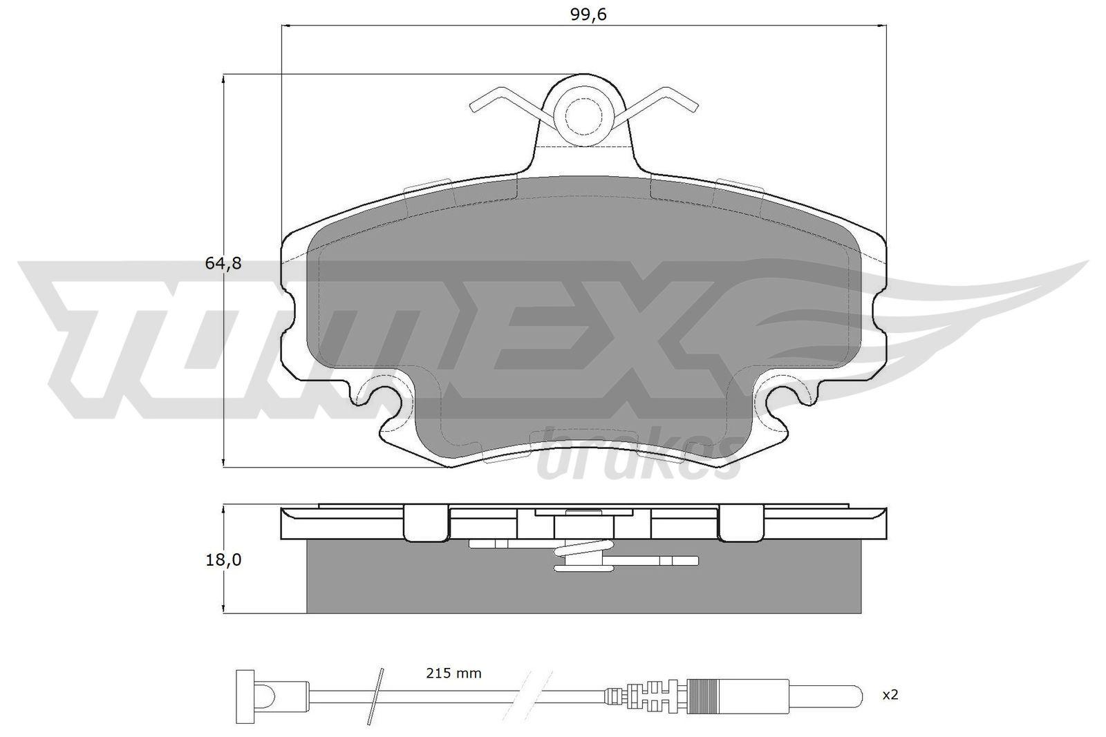 21463 TOMEX brakes Vorderachse, inkl. Verschleißwarnkontakt, mit Zubehör Höhe: 64,8mm, Breite: 99,6mm, Dicke/Stärke: 18mm Bremsbelagsatz, Scheibenbremse TX 11-78 günstig kaufen