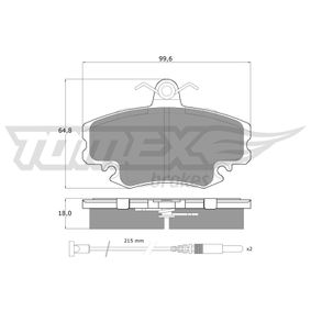 21463 TOMEX brakes Vorderachse, inkl. Verschleißwarnkontakt, mit Zubehör Höhe: 64,8mm, Dicke/Stärke: 18mm Bremsbelagsatz, Scheibenbremse TX 11-78 günstig kaufen