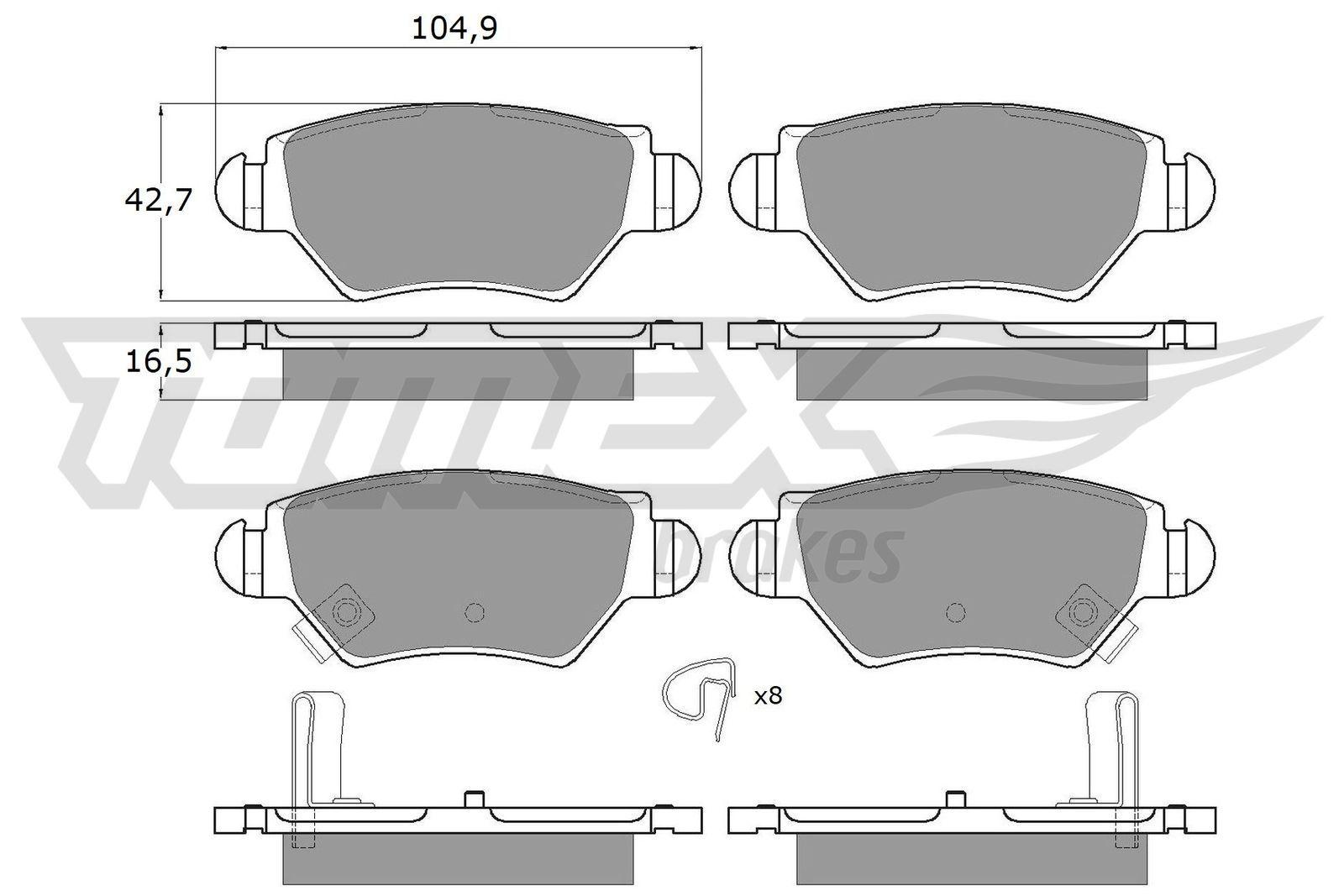 Bremsbelagsatz TOMEX brakes TX 12-14