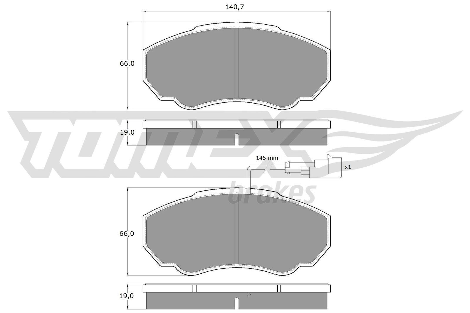 TOMEX brakes Bremsbelagsatz, Scheibenbremse TX 12-45