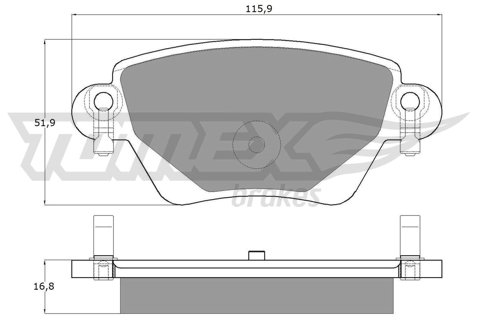 23557 TOMEX brakes Hinterachse, mit akustischer Verschleißwarnung Höhe: 51,9mm, Breite: 115,9mm, Dicke/Stärke: 16,8mm Bremsbelagsatz, Scheibenbremse TX 12-59 günstig kaufen