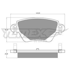 23557 TOMEX brakes Hinterachse, mit akustischer Verschleißwarnung Höhe: 51,9mm, Dicke/Stärke: 16,8mm Bremsbelagsatz, Scheibenbremse TX 12-59 günstig kaufen