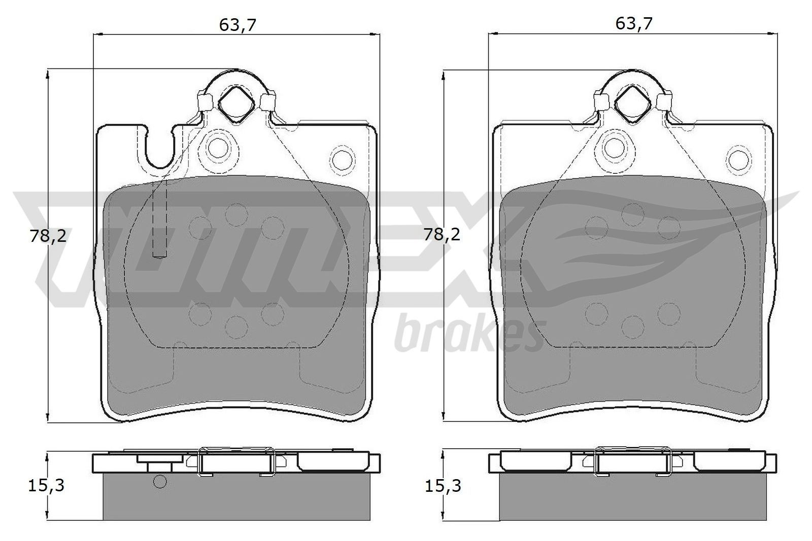 21899 TOMEX brakes Hinterachse, für Verschleißwarnanzeiger vorbereitet Höhe: 78,2mm, Breite: 63,7mm, Dicke/Stärke: 15,3mm Bremsbelagsatz, Scheibenbremse TX 12-79 günstig kaufen