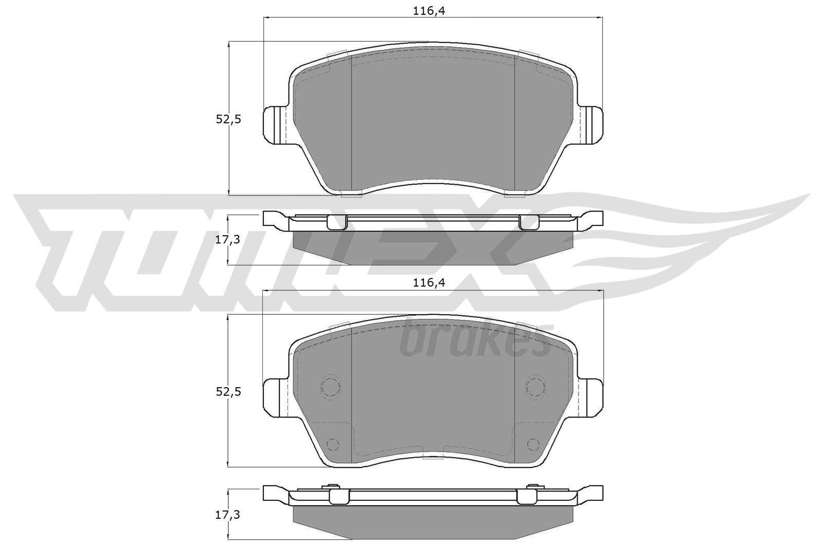 23973 TOMEX brakes Vorderachse Höhe: 52,5mm, Breite: 116,4mm, Dicke/Stärke: 17,3mm Bremsbelagsatz, Scheibenbremse TX 14-16 günstig kaufen