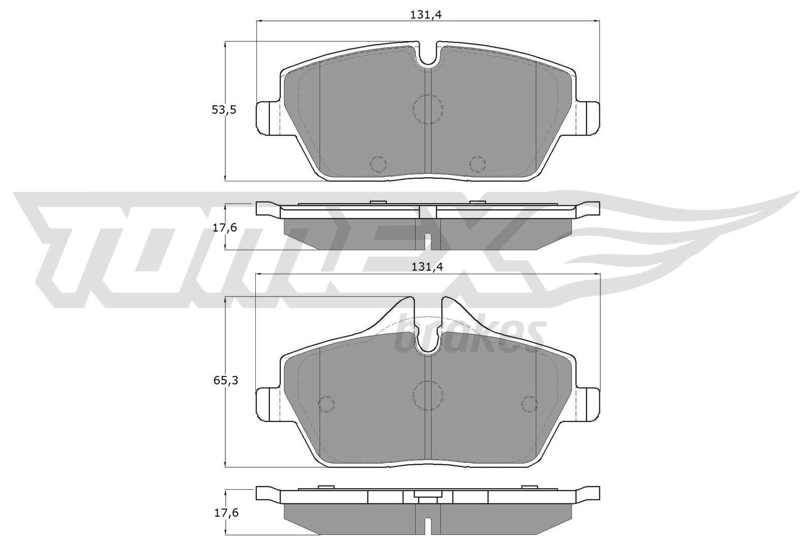 23916 TOMEX brakes Vorderachse, für Verschleißwarnanzeiger vorbereitet Höhe 1: 65,3mm, Höhe 2: 53,5mm, Breite: 131,4mm, Dicke/Stärke: 17,6mm Bremsbelagsatz, Scheibenbremse TX 14-33 günstig kaufen