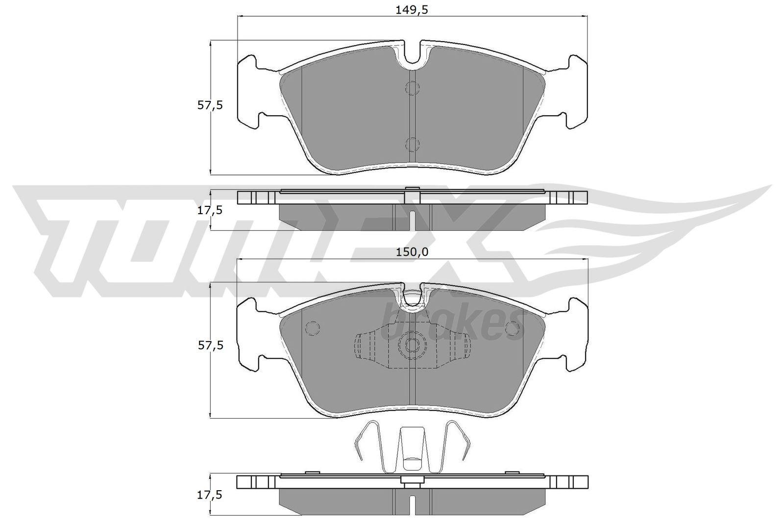 23999 TOMEX brakes Vorderachse, für Verschleißwarnanzeiger vorbereitet Höhe 2: 57,5mm, Höhe: 57,5mm, Breite 2: 150mm, Breite: 149,5mm, Dicke/Stärke: 17,5mm Bremsbelagsatz, Scheibenbremse TX 14-35 günstig kaufen
