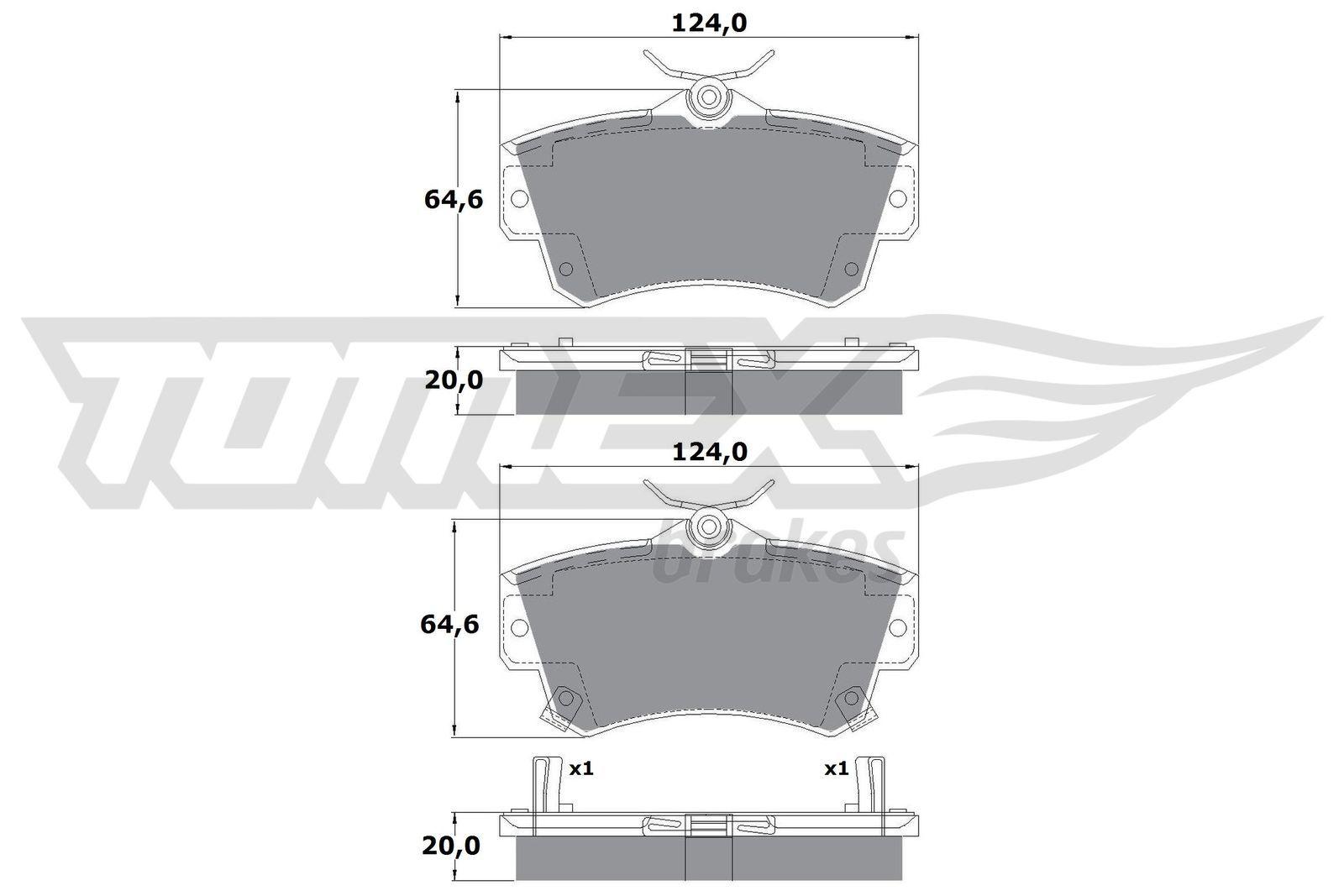 CHRYSLER PT CRUISER 2003 Bremsbelagsatz - Original TOMEX brakes TX 14-97 Höhe: 64,6mm, Breite: 124mm, Dicke/Stärke: 20mm