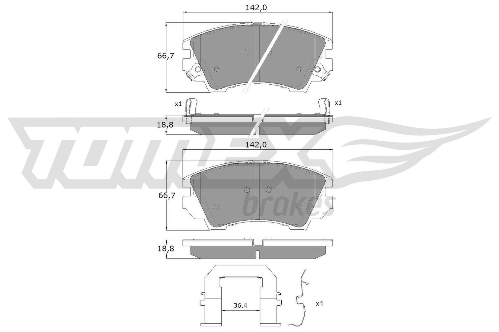Scheibenbremsbeläge TOMEX brakes TX 16-34