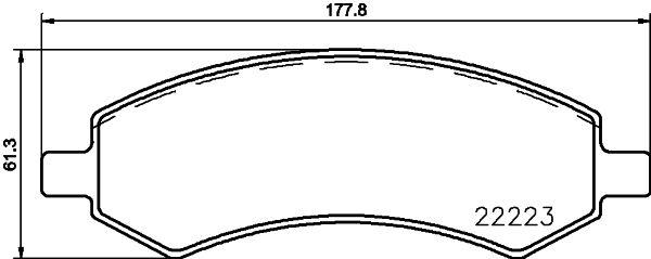 CHRYSLER ASPEN 2016 Bremsbeläge - Original HELLA 8DB 355 023-331 Höhe: 61,3mm, Breite: 117,8mm, Dicke/Stärke: 18,8mm