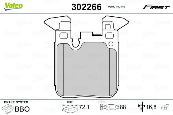 302266 VALEO Hinterachse, exkl. Verschleißwarnkontakt, mit Anti-Quietsch-Blech Höhe: 88mm, Breite: 72,1mm, Dicke/Stärke: 16,8mm Bremsbelagsatz, Scheibenbremse 302266 günstig kaufen