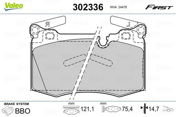 Bremsbelagsatz Scheibenbremse VALEO 302336