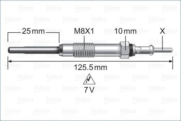345256 VALEO 7V Länge über Alles: 125,5mm, Gewindemaß: M8X1 Glühkerze 345256 günstig kaufen