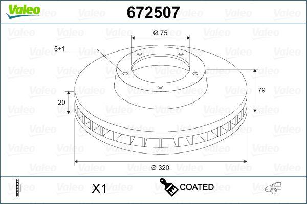 Freni a disco 672507 VALEO — Solo ricambi nuovi
