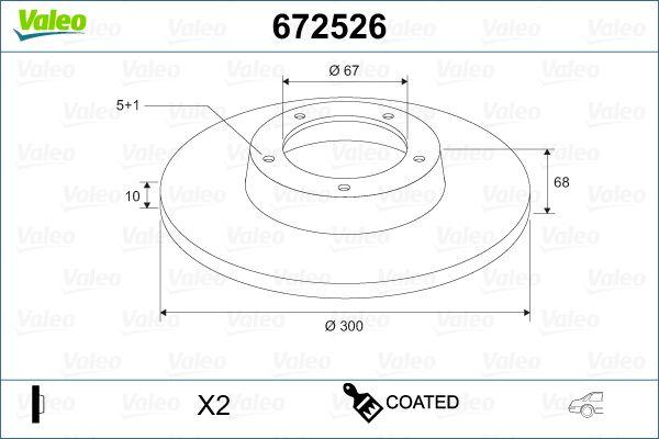 672526 VALEO Hinterachse, Voll, beschichtet Ø: 300mm, Felge: 5-loch, Bremsscheibendicke: 10mm Bremsscheibe 672526 günstig kaufen
