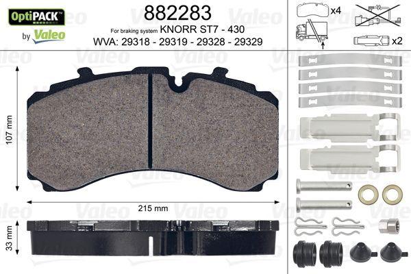 Achat de Kit de plaquettes de frein, frein à disque VALEO 882283 camionnette