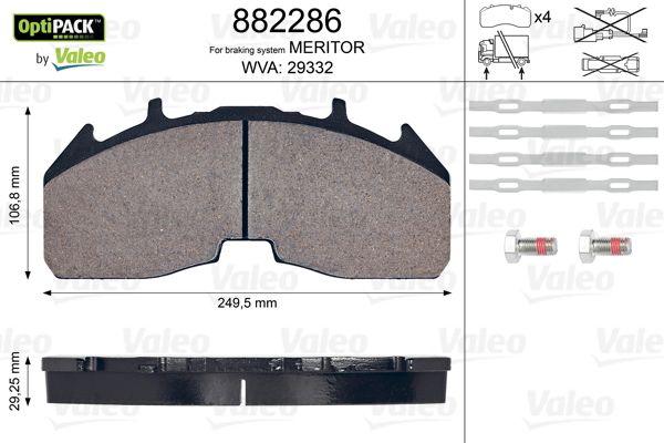 VALEO Bremsbelagsatz, Scheibenbremse für SCANIA - Artikelnummer: 882286