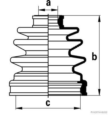 CHEVROLET REZZO 2016 Antriebswellen & Gelenke - Original HERTH+BUSS JAKOPARTS J2883004 Höhe: 95mm, Innendurchmesser 2: 23mm, Innendurchmesser 2: 77mm