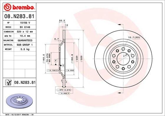 08.N283.81 BREMBO Voll, beschichtet Ø: 320mm, Lochanzahl: 5, Bremsscheibendicke: 12mm Bremsscheibe 08.N283.81 günstig kaufen