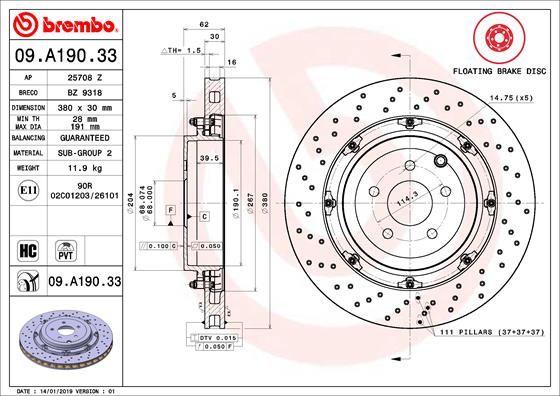 NISSAN GT-R 2019 Bremsscheiben - Original BREMBO 09.A190.33 Ø: 380mm, Lochanzahl: 5, Bremsscheibendicke: 30mm